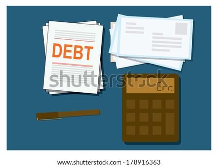 vector of flat invoice sheet,debt, concept,flat design - stock vector