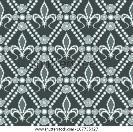 Vector of fleur de lis seamless pattern - stock vector