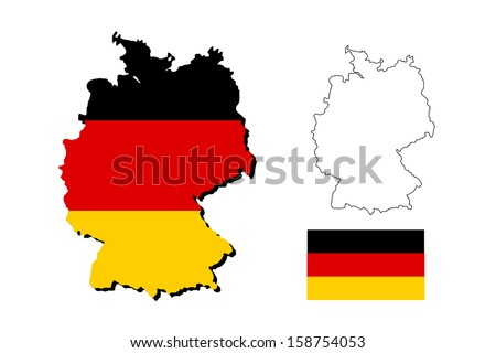 vector of germany map with german flag - stock vector