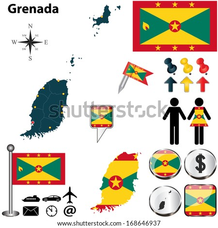 Vector of Grenada set with detailed country shape with region borders, flags and icons - stock vector