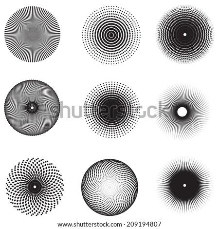 Vector of halftone nine design elements  - stock vector