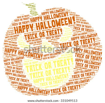Vector of Halloween concept word cloud in a pumpkin shape - stock vector