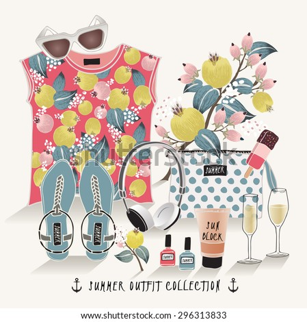 Vector of hand drawn fashion illustration. A set of summer outfit collection with flowers. - stock vector