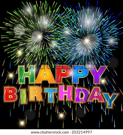 Vector of Happy Birthday design with fireworks and bokeh - stock vector