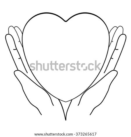 Vector of Heart in hands. Drawing monochrome line - stock vector