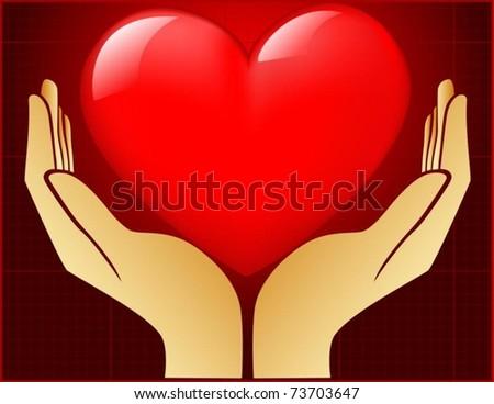 vector of heart in open hand - stock vector