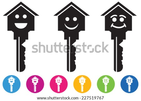 Vector of House and key icons and buttons set in smiley faces. The idea of design related with real estate, happiness and success etc. Keys to achieve. - stock vector