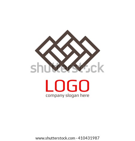 Vector of icon / Brick as a sign. Business icon for the company ceramic tiles / Brick / Hotel. This concept logo, label or badge for furniture shops / salons. Other companies. Vector illustration. - stock vector