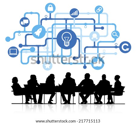 Vector of idea themed background with silhouettes of business people sitting around the conference table. - stock vector