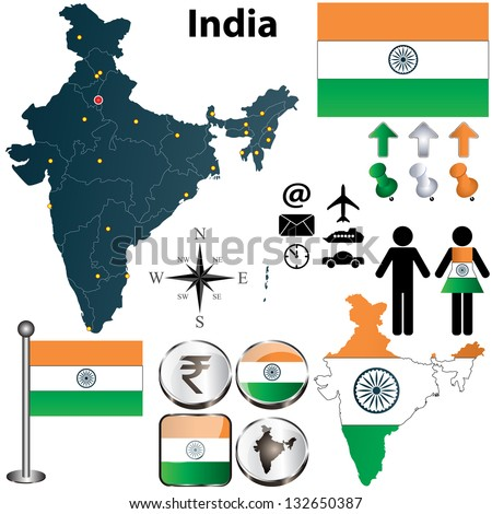 Vector of India set with detailed country shape with regions borders, flags and icons - stock vector