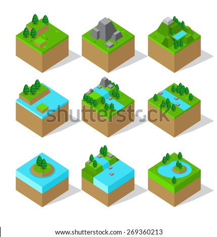 Vector of Isometric Landscape Icon - stock vector