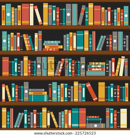 Vector of library book shelf background - stock vector