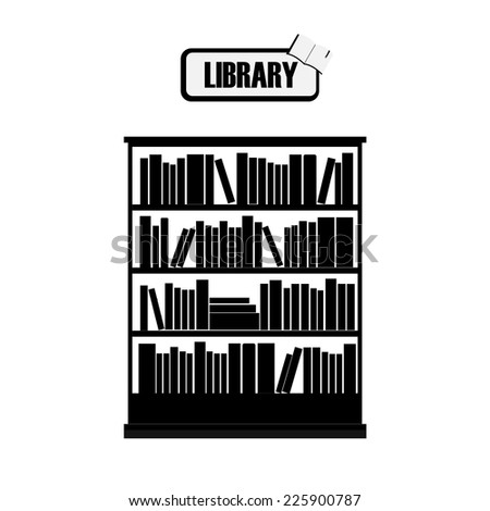 Vector of library book shelf black and white - stock vector