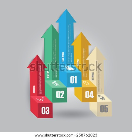 Vector of marketing infographic element arrow style. banner, diagram, number options, web design. - stock vector