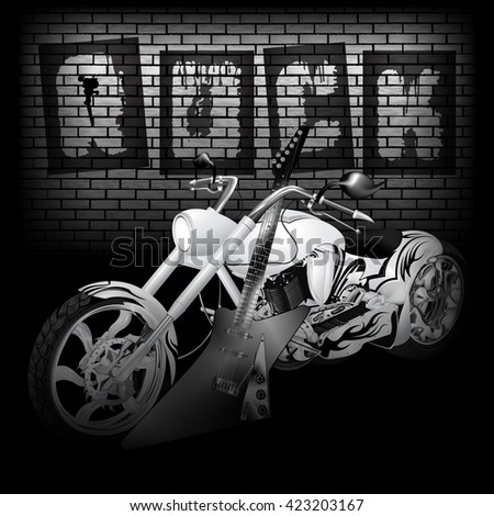 Vector of motorbike and electric guitar on the background of a brick wall word rock. Image in black and white, perfectly aligned with any image on a black background, there is a place for text. - stock vector