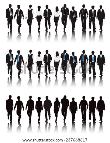 Vector of multi-ethnic business people walking. - stock vector