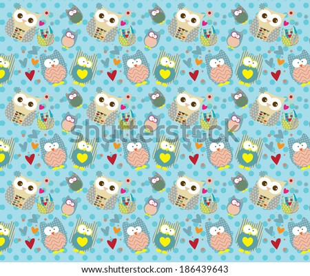 Vector of owl pattern for kids with Dot Background - stock vector