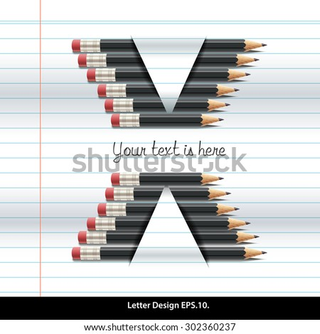 Vector of pencil alphabet X on book paper - stock vector