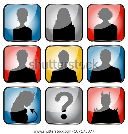 Vector of people avatars with girls, boys and sexy devils - stock vector