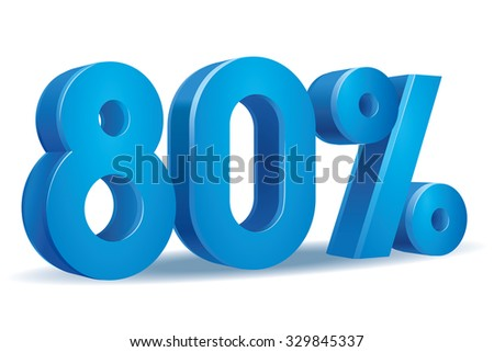 Vector of 80 percent in white background - stock vector