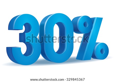 Vector of 30 percent in white background - stock vector