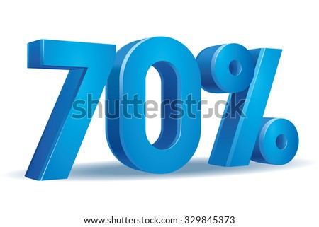 Vector of 70 percent in white background - stock vector