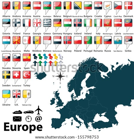 Vector of political map of Europe set with buttons flags on white background - stock vector