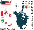 Vector of political map of North America set with buttons flags on white background - stock vector