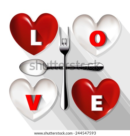 Vector of red and white plate in shape of heart with LOVE word on plate. - stock vector