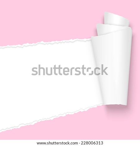 vector of ripped open paper colored pink - stock vector