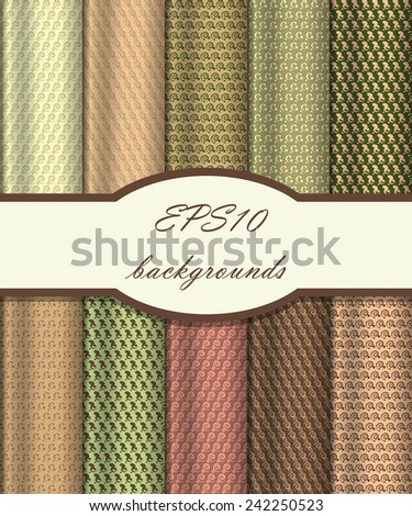 Vector of Seamless Patterns set. eps 10 - stock vector