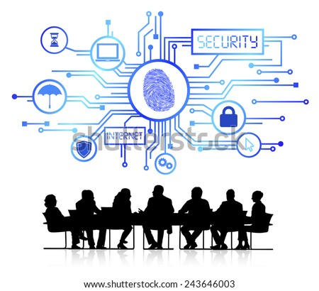 Vector of security themed background with silhouettes of business people sitting around the conference table. - stock vector