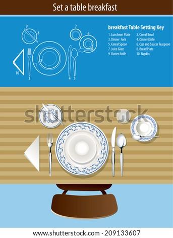 Vector of set a table breakfast - stock vector