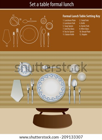 Vector of set a table formal lunch - stock vector