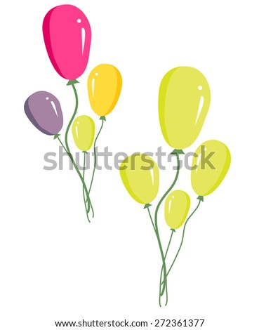 vector of set of colorful birthday or party balloons  - stock vector