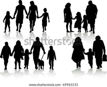 vector of silhouettes of families in different situations - stock vector