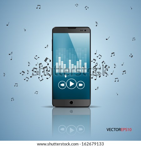 Vector of smartphone with music player app.  - stock vector