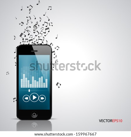 Vector of smartphone with music player app and tunes flying around. - stock vector