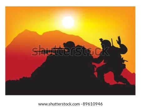 Vector of soldiers on action at sunset. - stock vector