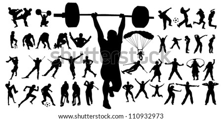 vector of sport silhouettes - stock vector