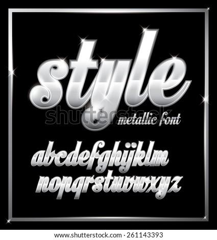 Vector of stylish metallic alphabets - stock vector