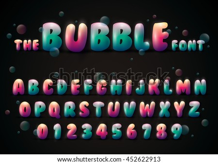 Vector of stylized bubble font and alphabet - stock vector