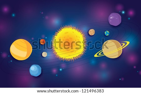 vector of stylized planets and solar system - stock vector
