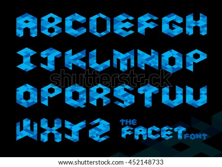 Vector of stylized polygonal font and alphabet - stock vector
