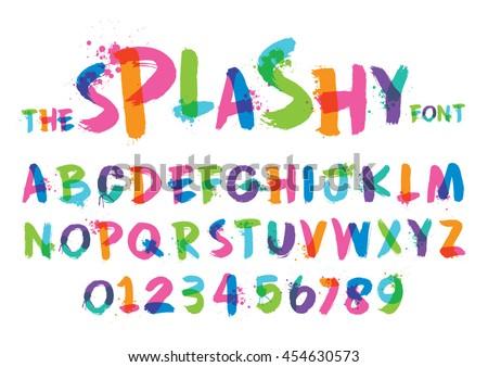 Vector of stylized splashy font and alphabet - stock vector