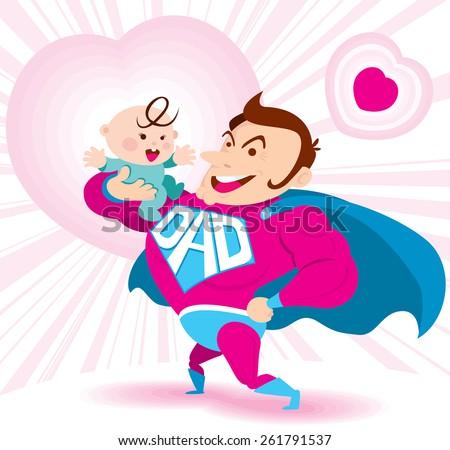 Vector of super daddy & his baby - stock vector