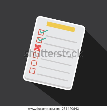 Vector of task list with long shadow - stock vector