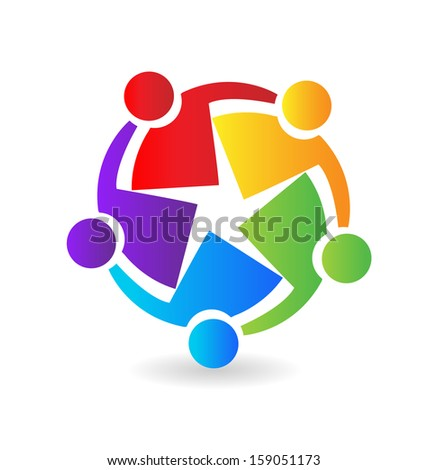 Vector of teamwork hugging icon - stock vector