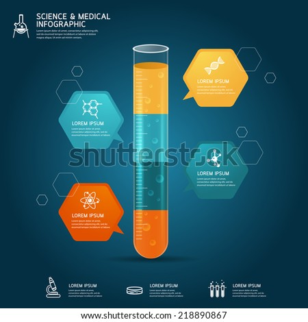 Vector of test tube glass education-chemistry infographic concept - stock vector