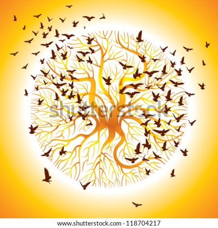 vector of the crows on the tree and in the air - stock vector